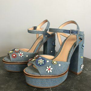 New - Zara Denim Platforms w/Beaded Flowers, 5